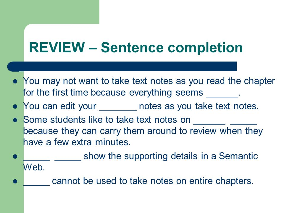 REVIEW – Sentence completion