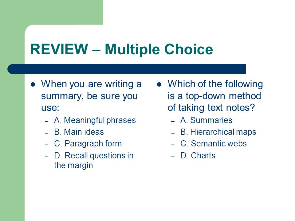 REVIEW – Multiple Choice