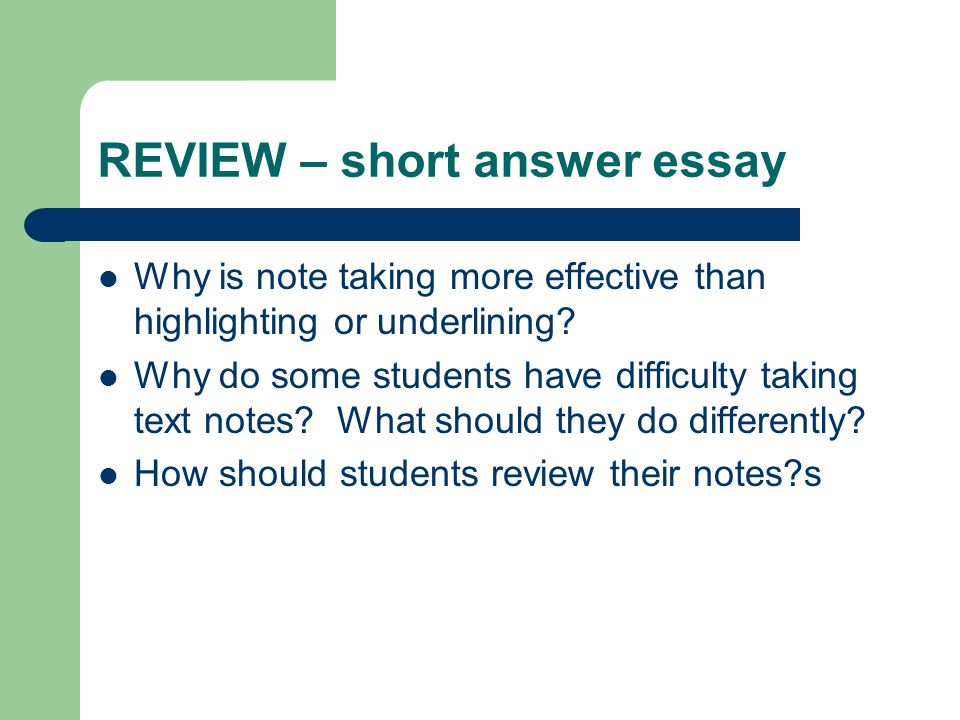REVIEW – short answer essay