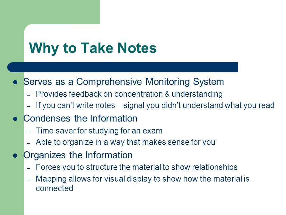 Why to Take Notes Serves as a Comprehensive Monitoring System