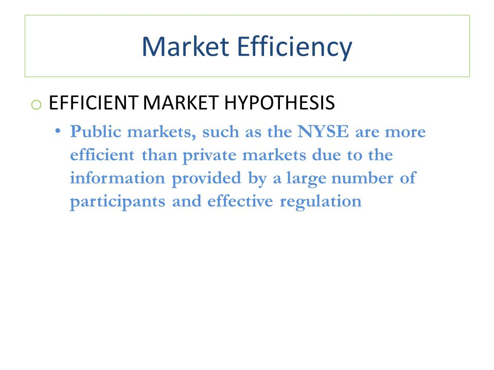 Market Efficiency Efficient Market Hypothesis