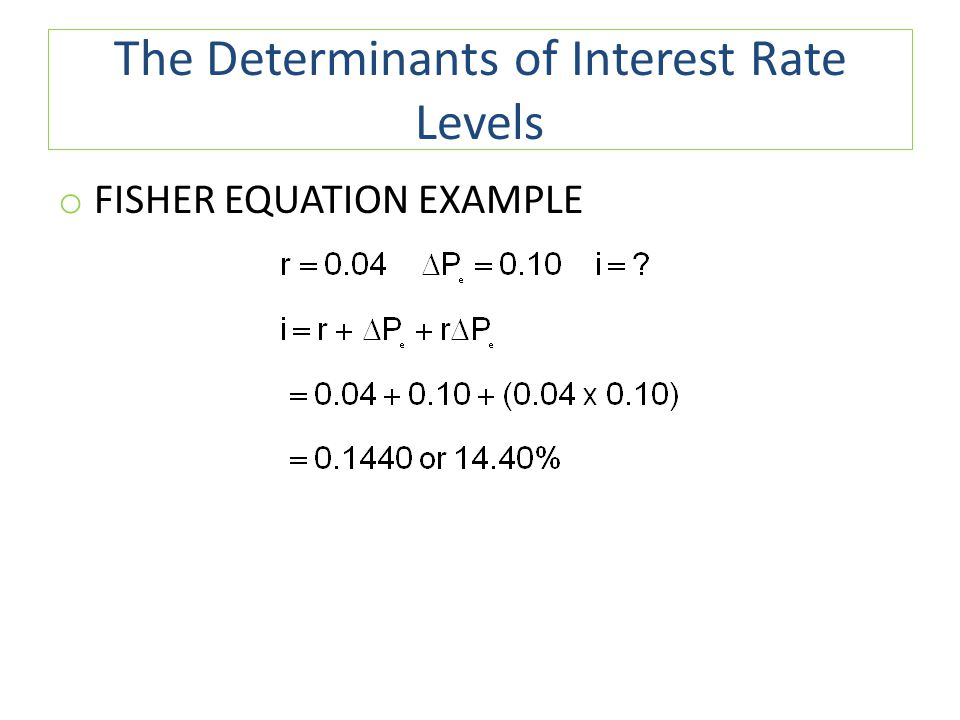 The Determinants of Interest Rate Levels