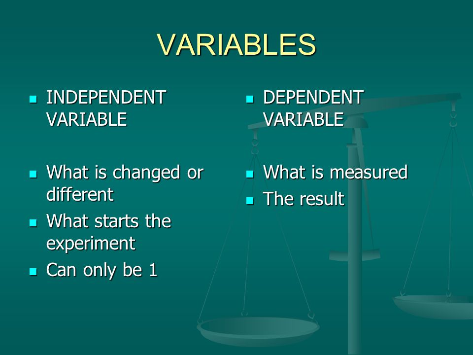 VARIABLES INDEPENDENT VARIABLE What is changed or different