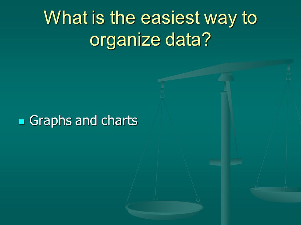 What is the easiest way to organize data