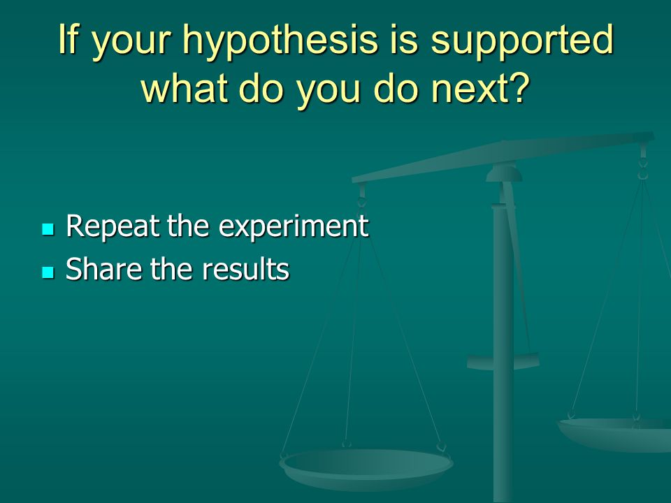 If your hypothesis is supported what do you do next