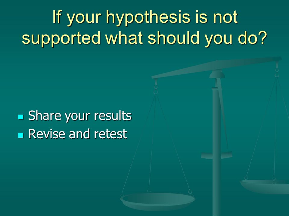 If your hypothesis is not supported what should you do