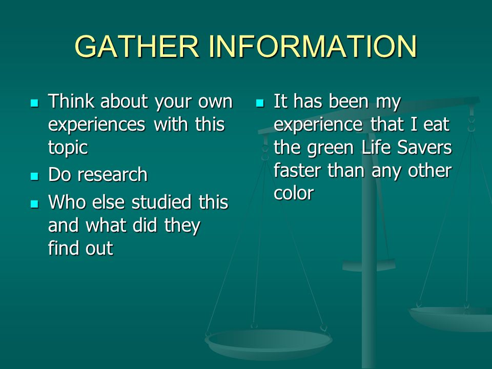 GATHER INFORMATION Think about your own experiences with this topic