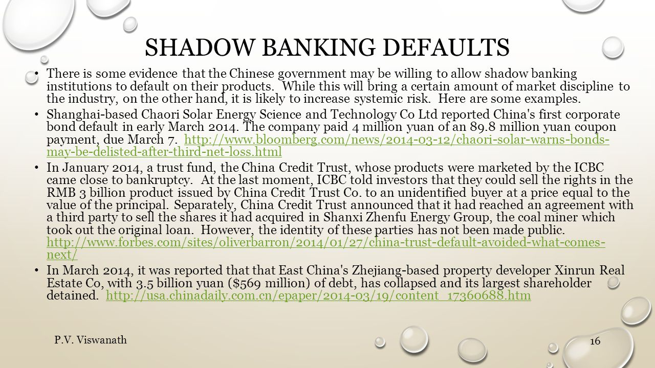 Shadow banking defaults