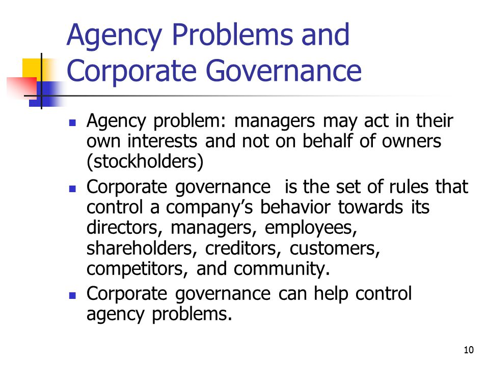 Agency Problems and Corporate Governance