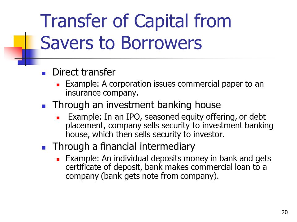 Transfer of Capital from Savers to Borrowers