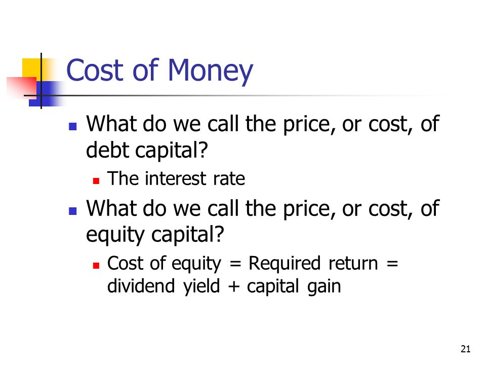 Cost of Money What do we call the price, or cost, of debt capital