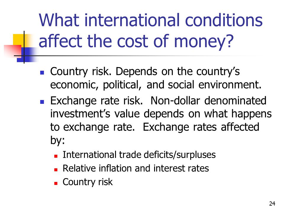 What international conditions affect the cost of money