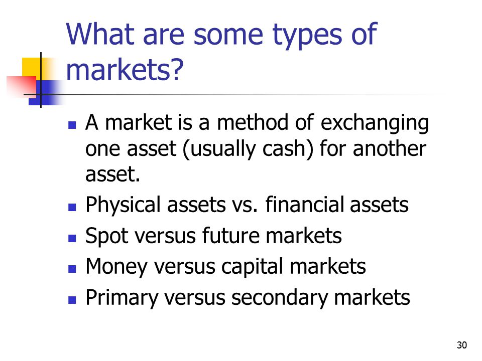 What are some types of markets