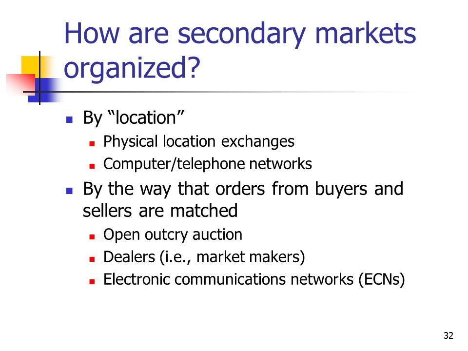 How are secondary markets organized