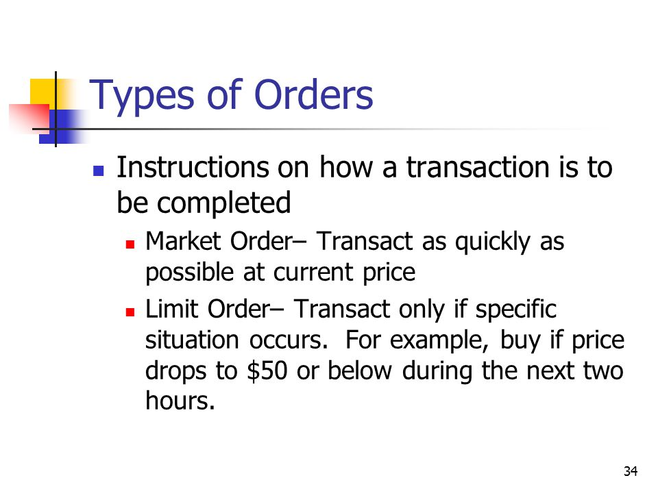Types of Orders Instructions on how a transaction is to be completed