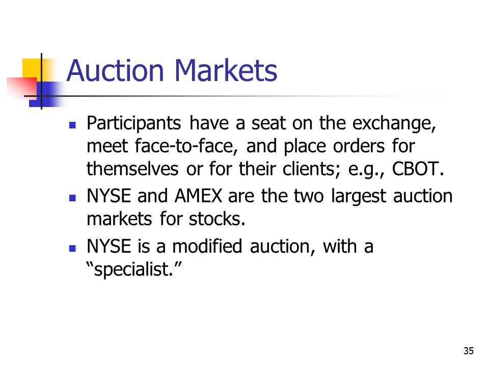Auction Markets Participants have a seat on the exchange, meet face-to-face, and place orders for themselves or for their clients; e.g., CBOT.