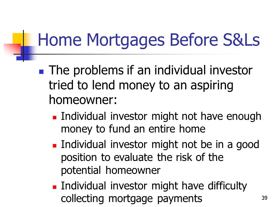Home Mortgages Before S&Ls