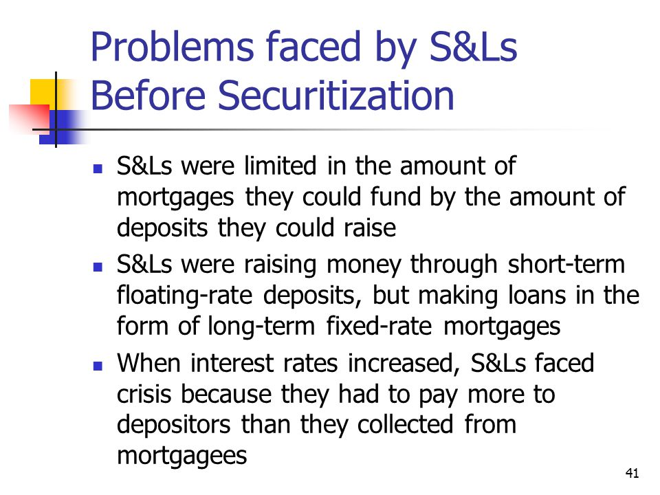 Problems faced by S&Ls Before Securitization