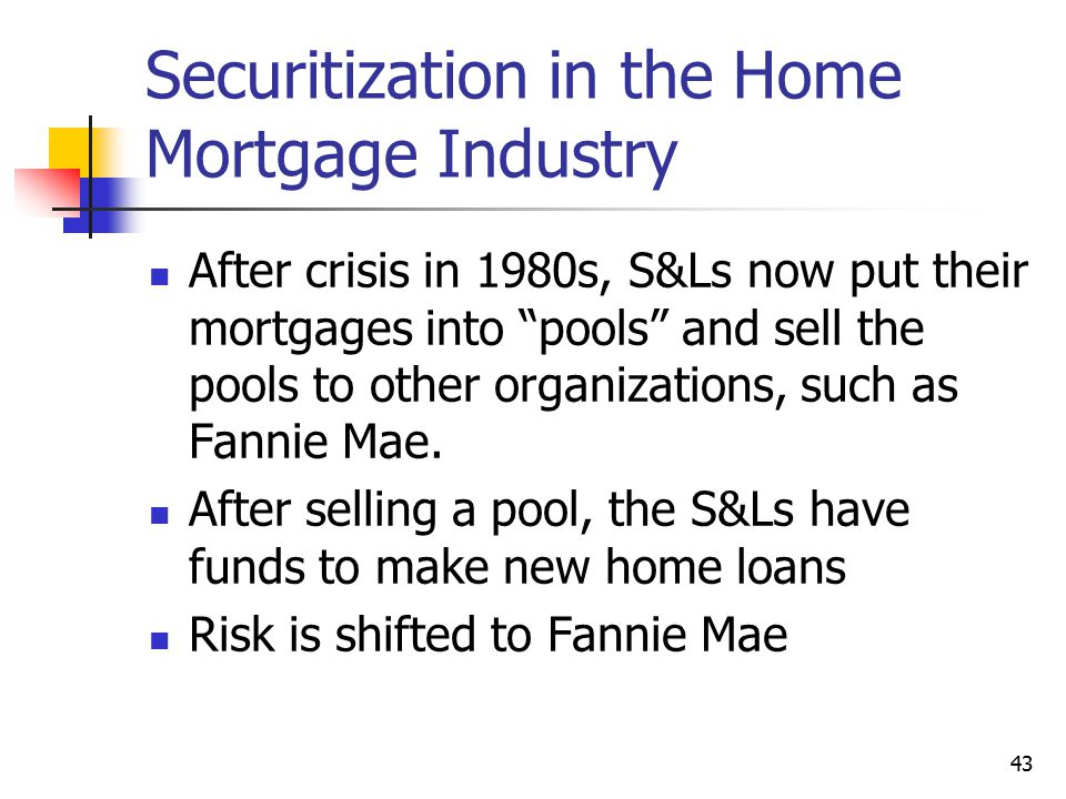 Securitization in the Home Mortgage Industry