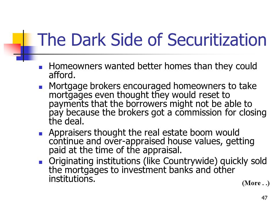 The Dark Side of Securitization
