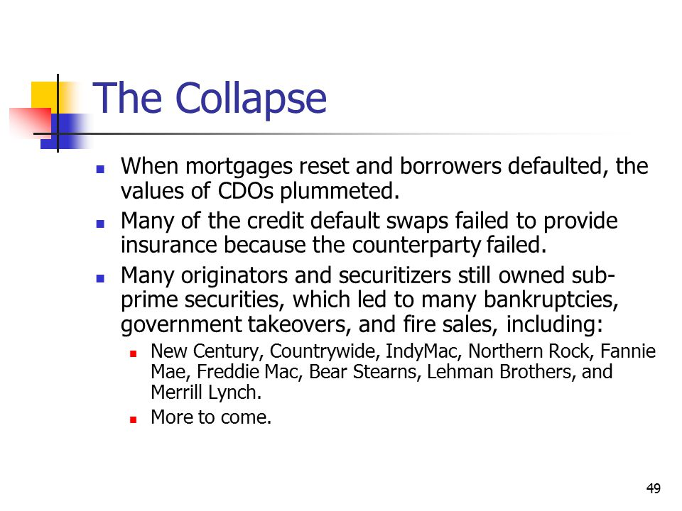 The Collapse When mortgages reset and borrowers defaulted, the values of CDOs plummeted.