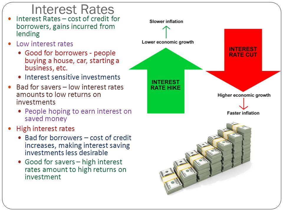 Interest Rates Interest Rates – cost of credit for borrowers, gains incurred from lending. Low interest rates.
