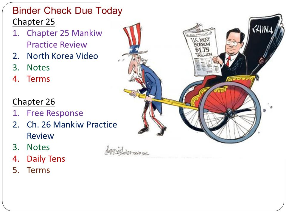 Binder Check Due Today Chapter 25 Chapter 25 Mankiw Practice Review