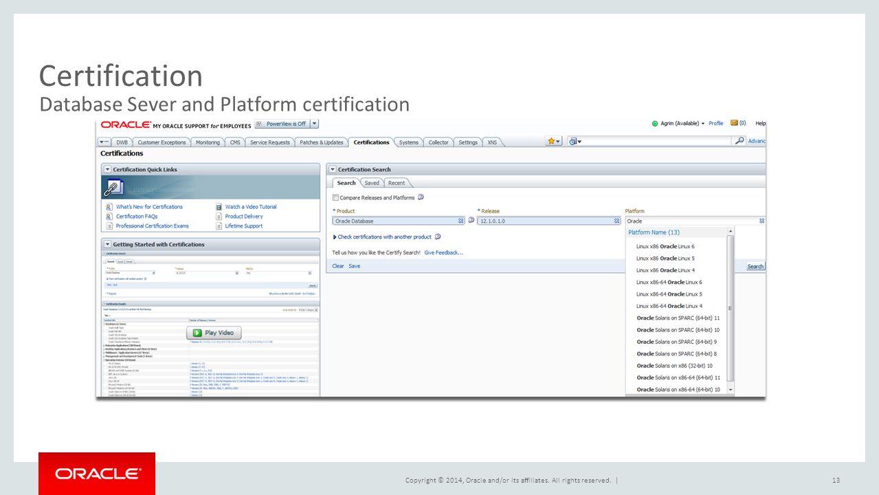 Certification Database Sever and Platform certification