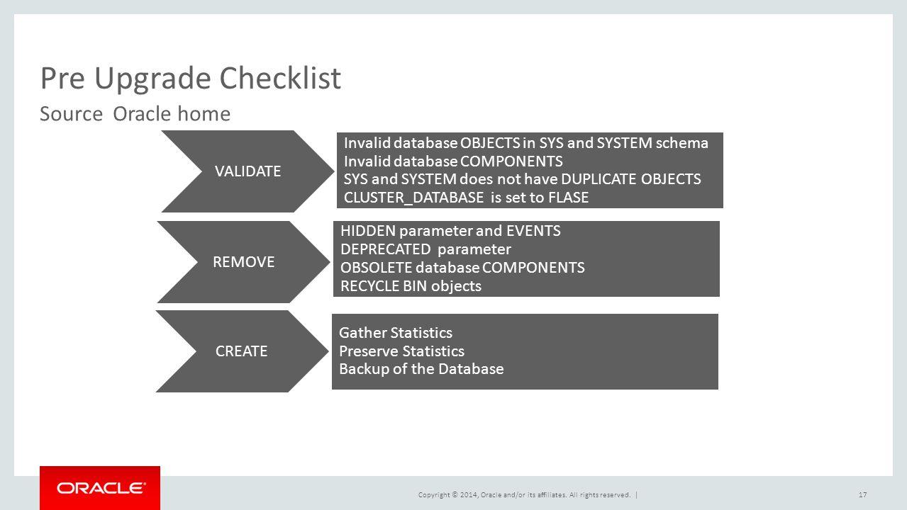 Pre Upgrade Checklist Source Oracle home