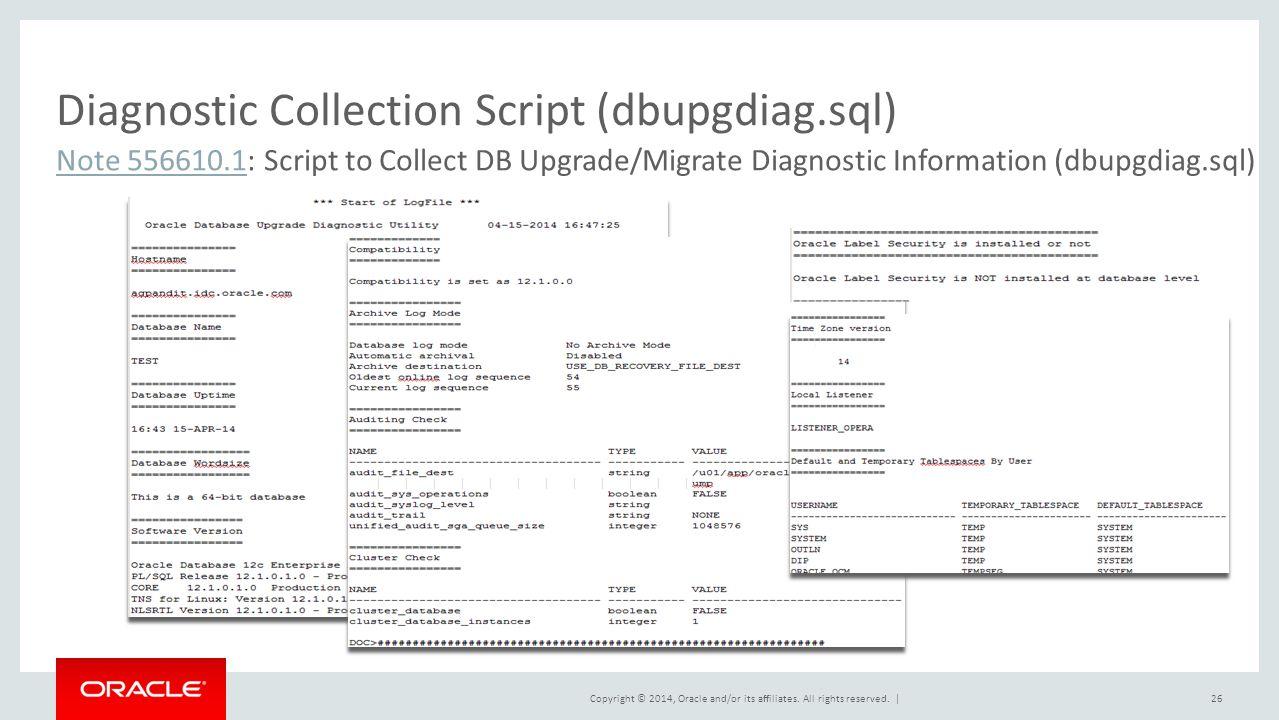 Diagnostic Collection Script (dbupgdiag.sql)