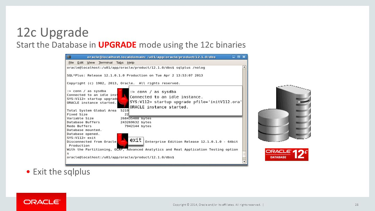 12c Upgrade Start the Database in UPGRADE mode using the 12c binaries