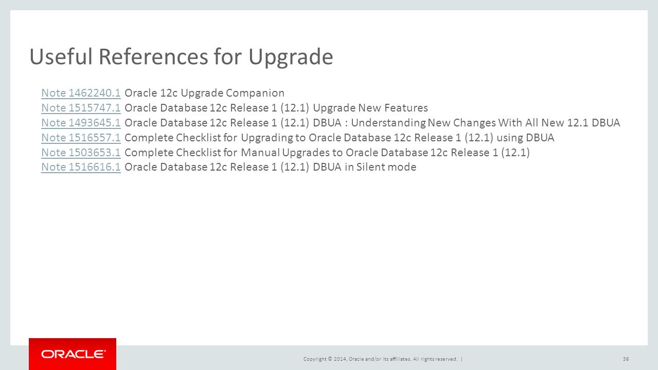 Useful References for Upgrade