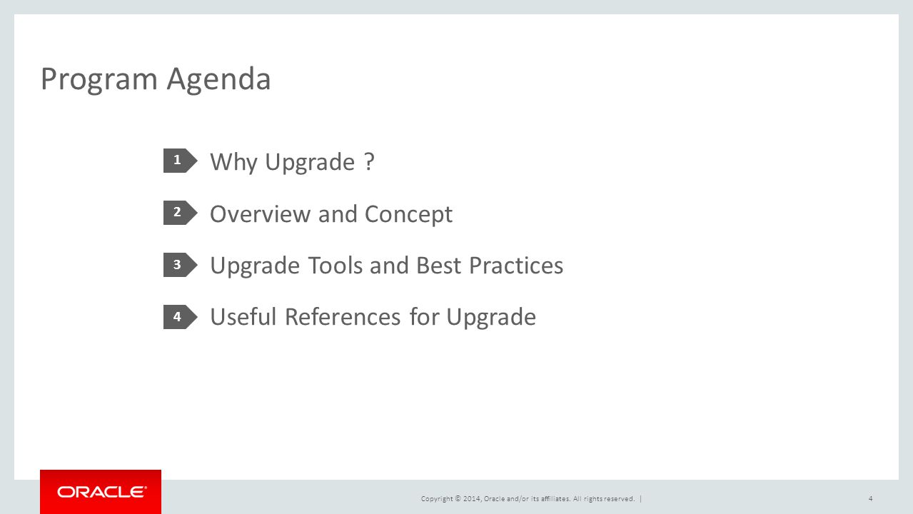 Program Agenda 1. Why Upgrade Overview and Concept Upgrade Tools and Best Practices Useful References for Upgrade