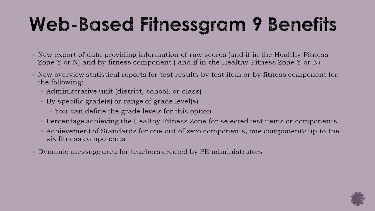Web-Based Fitnessgram 9 Benefits