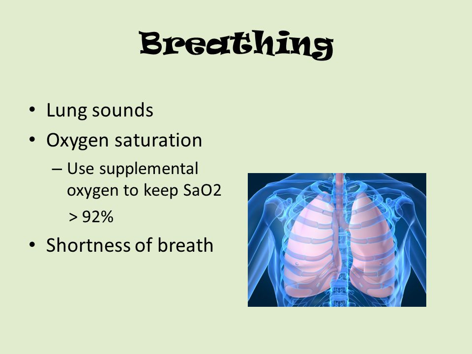 Breathing Lung sounds Oxygen saturation Shortness of breath