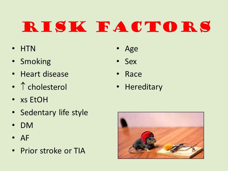 Risk Factors HTN Smoking Heart disease  cholesterol xs EtOH