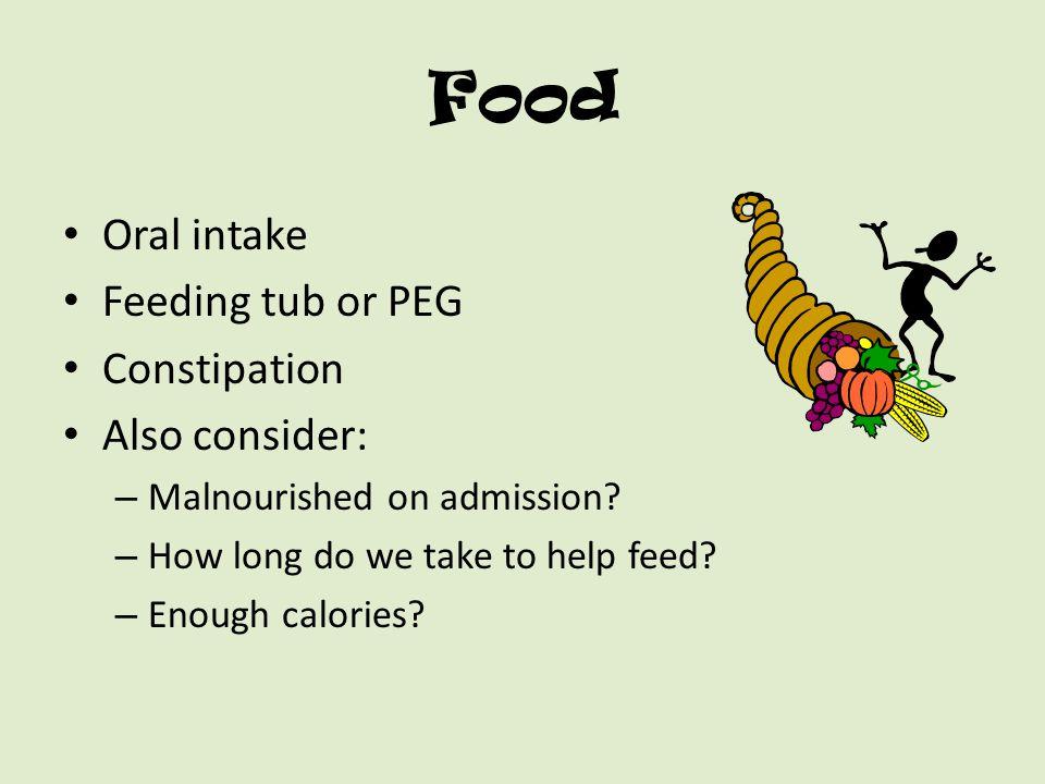 Food Oral intake Feeding tub or PEG Constipation Also consider: