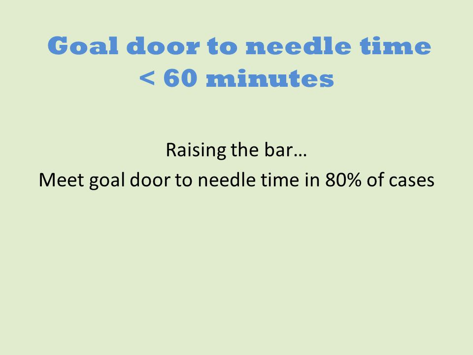 Goal door to needle time < 60 minutes