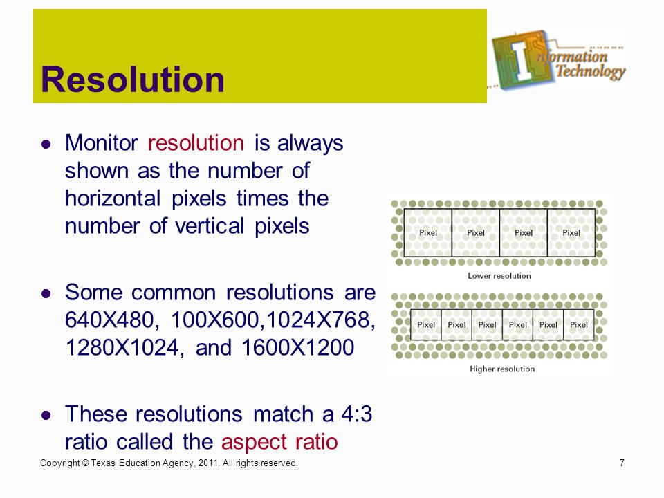 Resolution Monitor resolution is always shown as the number of horizontal pixels times the number of vertical pixels.