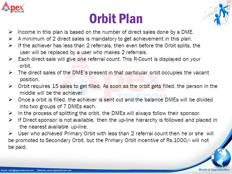 Orbit Plan Income in this plan is based on the number of direct sales done by a DME.
