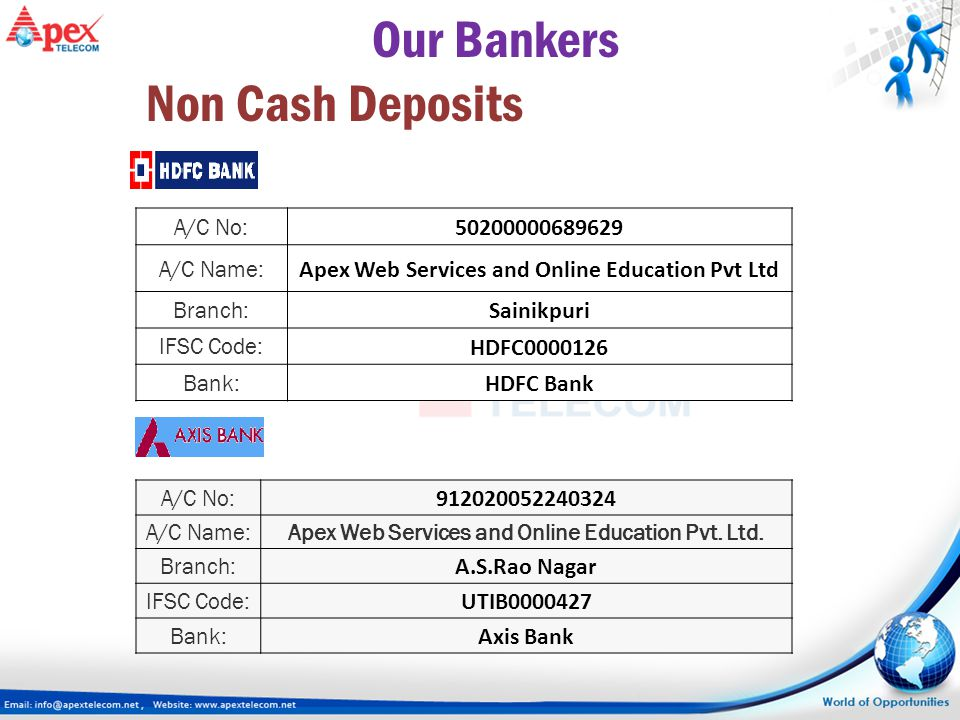 Our Bankers Non Cash Deposits 50200000689629