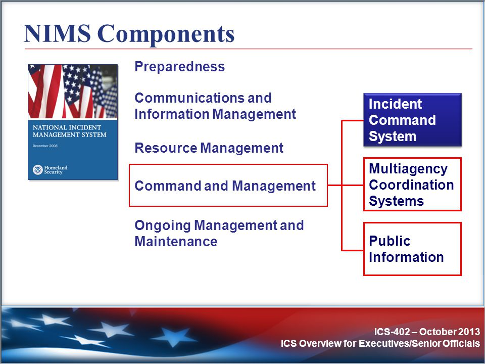 NIMS Components Preparedness Communications and Information Management