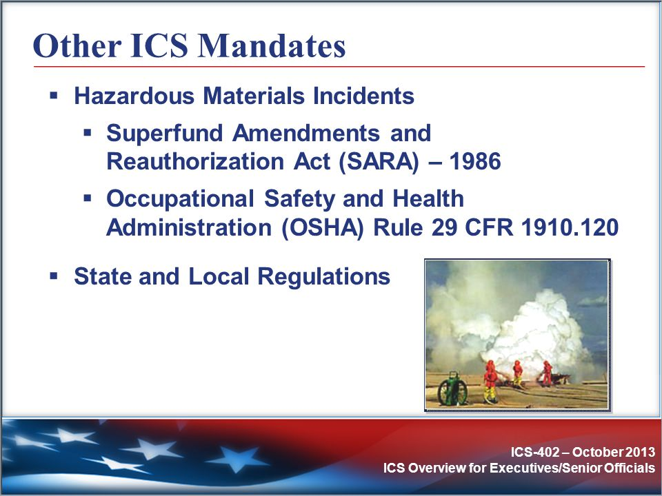 Other ICS Mandates Hazardous Materials Incidents