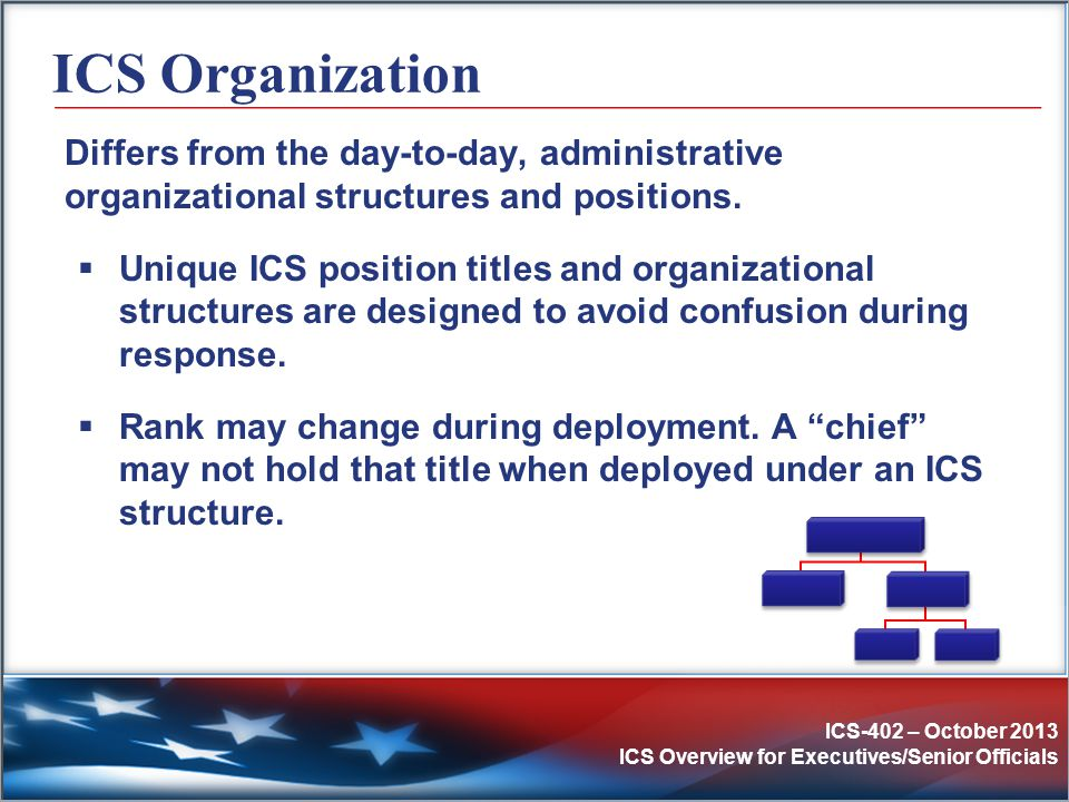 ICS Organization Differs from the day-to-day, administrative organizational structures and positions.