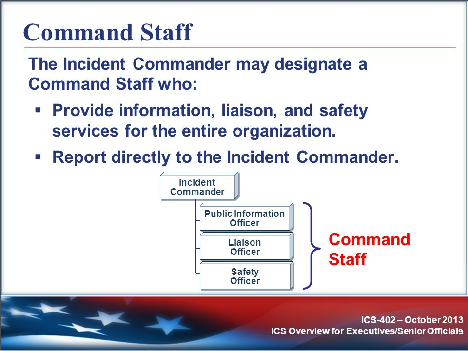 Command Staff The Incident Commander may designate a Command Staff who: