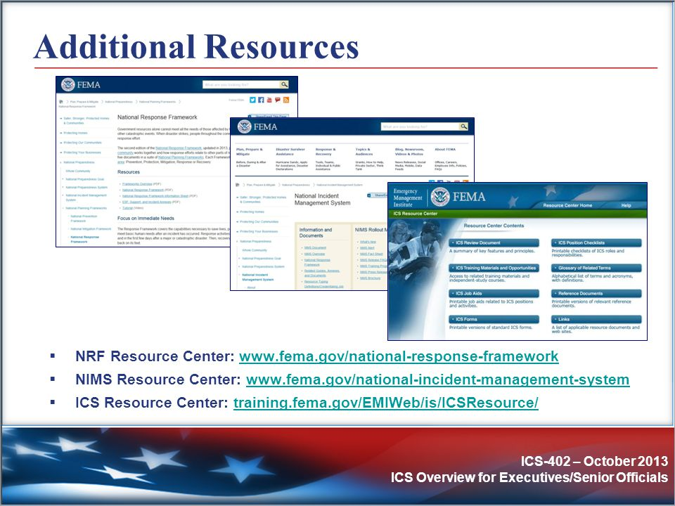Additional Resources NRF Resource Center: www.fema.gov/national-response-framework.