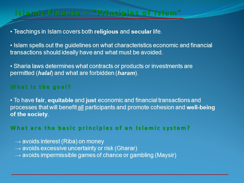 Islamic Finance – Principles of Islam