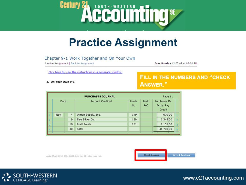 Practice Assignment Fill in the numbers and check Answer.