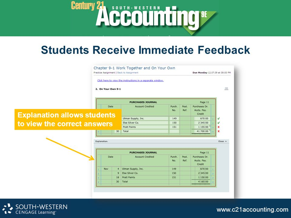 Students Receive Immediate Feedback