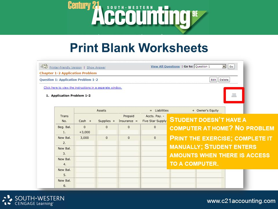 Print Blank Worksheets